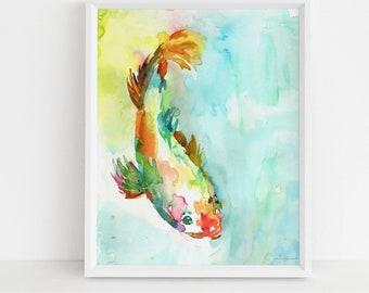 "Koi Fish Watercolor Print, ""Dreams of Koi"" by Jess Buhman,  Multiple Sizes, Select Your Size, Watercolor Koi"