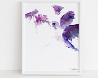 "Hummingbird Print | ""Josie the Hummingbird"" by Jess Buhman, Digital Download, Print Yourself, Bird Painting, Wall Art, Home Decor"