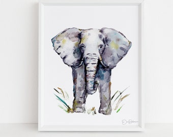 "Elephant Watercolor Print | ""Cornelius"" by Jess Buhman, Select Your Size, Multiple Sizes, Nursery Art, Safari Animal Painting"