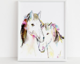 "Horse Watercolor Print Instant Download | ""Wild, Wild Horses"" by Jess Buhman, 8"" x 10"" Digital File, Print at Home"