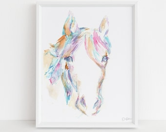 "Horse Watercolor Print | ""Hugo the Horse"" by Jess Buhman, Select Your Size, Multiple Sizes, Nursery Decor"