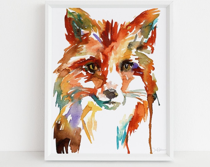 "Featured listing image: Watercolor Fox Print | ""Little Fox"" by Jess Buhman, Multiple Sizes, Select Your Size, Nursery Animal, Nursery Art, Woodland Animals"
