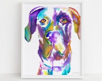 "Great Dane Art | ""Toby the Great (Dane)"" by Jess Buhman, Multiple Sizes, Great Dane Watercolor Print, Choose Your Size, Multiple Sizes"