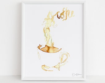 """Coffee Watercolor Print 