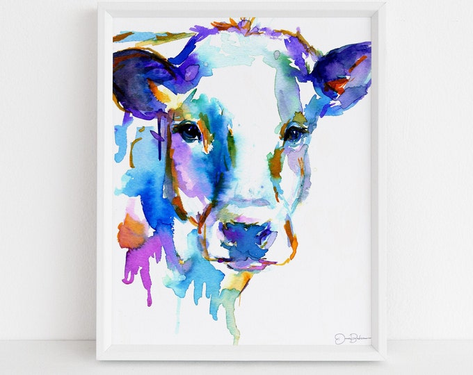 "Featured listing image: Cow Watercolor Print | ""Cow"" by Jess Buhman, Choose Your Size, Multiple Sizes, Nursery Art, Farm Animal Painting"