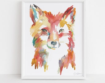 "Fox Watercolor Painting Print | ""Faris the Fox"" by Jess Buhman, Multiple Sizes, Select Your Size, Fox Painting, Nursery Art, Woodland Art"