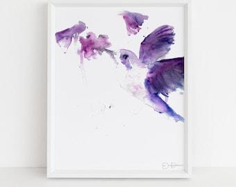 "Hummingbird Watercolor Painting Print | ""Josie the Hummingbird"" by Jess Buhman, Multiple Sizes, Select Your Size, Bird Painting, Bird Art"