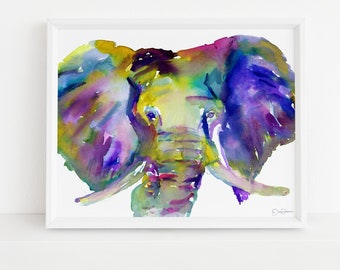 "Elephant Watercolor Digital Download | ""Ellie"" by Jess Buhman, Instant Download, Print at Home, Elephant Painting, Nursery Art"