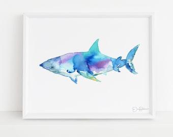 "Shark Watercolor Print | ""Great White"" by Jess Buhman, Shark Painting, Shark Print Ocean Art, Ocean Animal Art, Nursery Art, Ocean Painting"