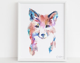 "Fox Watercolor Print | ""Farah the Fox"" by Jess Buhman, Multiple Sizes, Select Your Size, Nursery Painting. Baby Room Decor, Fox Art"