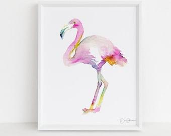 "Flamingo Watercolor Print | ""Stand Tall"" by Jess Buhman, Multiple Sizes, Flamingo Art, Flamingo Painting, Tropical Art, Tropical Print"