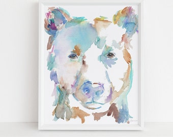"Black Bear Watercolor Digital Download | ""Barnaby the Bear"" by Jess Buhman, Instant Download, Print at Home, Bear Painting, Nursery Art"
