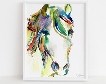 "Horse Watercolor Painting Print | ""Horsin' Around"" by Jess Buhman, Multiple Sizes, Select Your Size, Print of Horse, Abstract Horse Painting"