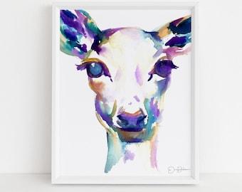 "Deer Print | ""What A Deer"" by Jess Buhman, Watercolor Deer Print, Select Your Size, Multiple Sizes, Nursery Decor, Christmas Decor"
