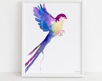 "Watercolor Bird Print   ""Serene Bird"" by Jess Buhman, Multiple Sizes, Select Your Size, Abstract Bird Art, Colorful Bird Print, Bird Art"