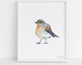 "Watercolor Bird Instant Download  |  ""English Robin"" by Jess Buhman, Printable 8"" x 10"" Watercolor Art, Digital Print, Print at Home"