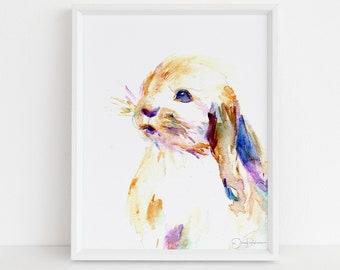 "Bunny Watercolor Print, ""Cottontail"" by Jess Buhman, Select Your Size, Multiple Sizes, Nursery Decor Art"