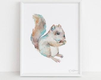 "Squirrel Print Digital Download | ""Squirrel"" by Jess Buhman, Instant Download, Print at Home, Watercolor Animal, Nursery Art"