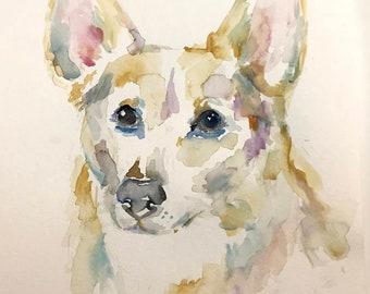 "Original Watercolor Corgi Dog Painting ""Annie the Corgi"" by Jess Buhman, 9"" x 12"" Original Painting on Cold Press Paper, Original Dog Art"