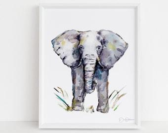 "Elephant Watercolor Digital Download | ""Cornelius"" by Jess Buhman, Instant Download, Print at Home, Elephant Painting, Nursery Art"