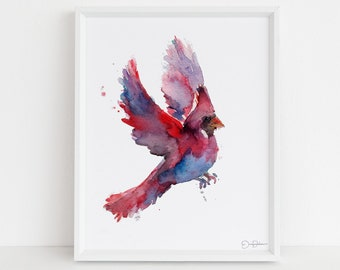 "Cardinal Watercolor Digital Download | ""Cordelia the Cardinal"" by Jess Buhman, Instant Download, Digital File, Print at Home, Bird Painting"