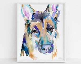 "German Shepherd Watercolor Print Instant Download | ""German Shepherd"" by Jess Buhman, 8"" x 10"" Digital File, Print at Home, Dog Lover Gift"