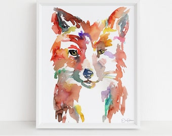 "Fox Watercolor Print | ""Johnny the Fox"" by Jess Buhman, Multiple Sizes, Fox Painting, Fox Illustration, Nursery Art, Woodland Art"