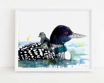 "Loon Painting, Digital Download Print | ""Loon Love"" by Jess Buhman, 8"" x 10"" digital print, Instant Download"