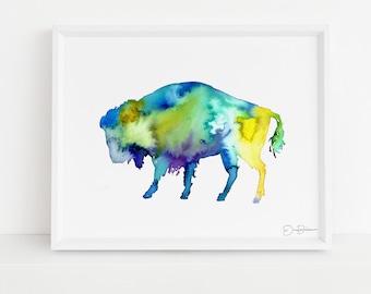 "Buffalo Watercolor Print  | ""Buffalo"" by Jess Buhman, Multiple Sizes, Select Your Size,  Southwest Art, Bison Print"