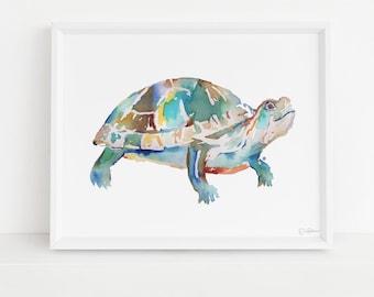 Turtle Print, Watercolor Turtle, 8 x 10 Print, Turtle Painting, Turtle Art, Watercolor Turtle, Print of Turtle, Pond Animals, Box Turtle