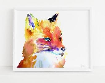 "Fox Print Digital Download, ""Foxy Brown"" by Jess Buhman, Instant Download, Print at Home, Watercolor Animal, Nursery Art"