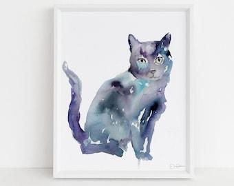 "Black Cat Watercolor Print Instant Download | ""Desmond"" by Jess Buhman, 8"" x 10"", Print at Home, Digital File, Instant Gift Idea"