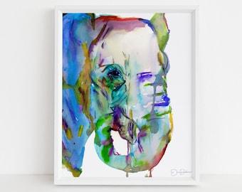 "Elephant Watercolor Print  | ""Elephun"" by Jess Buhman, Elephant Painting, Elephant Print, Nursery Art, Jungle Art, Zoo Animal Art"