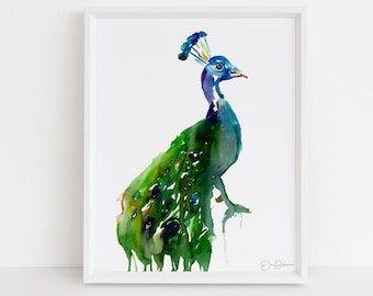 "Peacock Watercolor Print | ""Priscilla the Peacock"" by Jess Buhman, Multiple Sizes, Wall Art, Bird Painting, Home Decor, Choose Your Size"