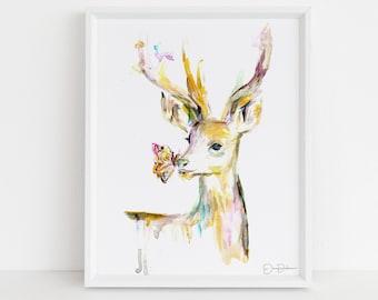 "Deer Watercolor Print | ""Stay Golden, Deer"" by Jess Buhman, Multiple Sizes, Select Your Size, Nursery Art"