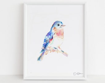 "Watercolor Bird Instant Download  |  ""Bluebird"" by Jess Buhman, Printable 8"" x 10"" Watercolor Art, Digital Print, Print at Home"