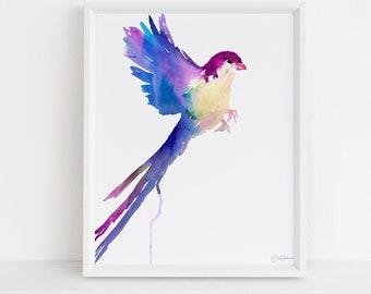 "Watercolor Bird Instant Download  |  ""Serene Bird"" by Jess Buhman, Printable 8"" x 10"" Watercolor Art, Digital Print, Print at Home"
