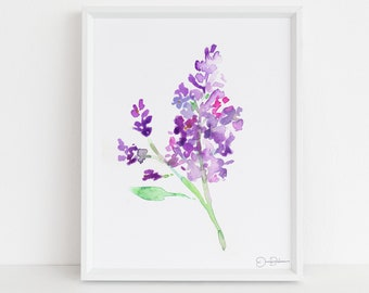 "Lilac Watercolor Print | ""Lilac Season"" by Jess Buhman, Multiple Sizes, Select Your Size, Floral Painting Print, Flower Painting"