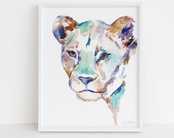 "Lioness Watercolor Painting Print |  ""The Queen"" by Jess Buhman, Multiple Sizes, Select Your Size, Lioness Painting, Lion Art"