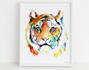 "Tiger Watercolor Print | ""Tiger Eye"" by Jess Buhman, Multiple Sizes, Select Your Size, Tiger Illustration, Big Cat Painting"