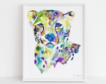 "Cheetah Watercolor Print | ""Chester"" by Jess Buhman, Multiple Sizes, Wall Art, Nursery Painting, Home Decor, Choose Your Size"