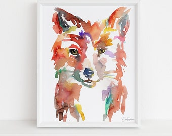 "Fox Print Digital Download, ""Johnny the Fox"" by Jess Buhman, Instant Download, Print at Home, Watercolor Animal, Nursery Art"
