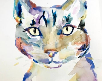 "Original Watercolor Cat Painting ""Sully the Cat"" by Jess Buhman, 11"" x 14"" Watercolor Tabby Cat Painting, Kitty Painting"