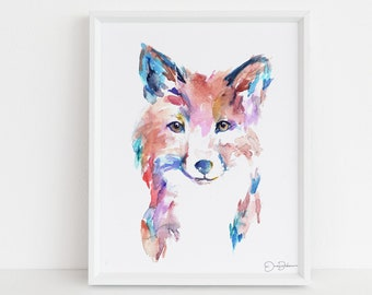 "Fox Print Digital Download, ""Farah the Fox"" by Jess Buhman, Instant Download, Print at Home, Watercolor Animal, Nursery Art"