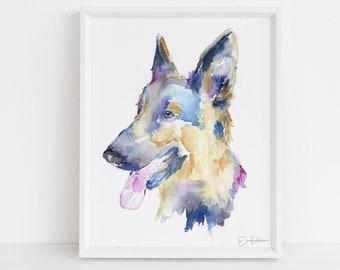 "German Shepherd Watercolor Print Instant Download   ""Gemma the German Shepherd"" by Jess Buhman, 8"" x 10"" Digital File, Dog Lover Gift"