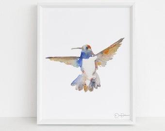 "Hummingbird Print | ""Black-chinned Hummingbird"" by Jess Buhman, Digital Download, Print Yourself, Bird Painting, Wall Art, Home Decor"