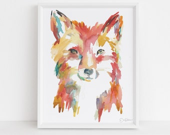 "Fox Print Digital Download, ""Faris the Fox"" by Jess Buhman, Instant Download, Print at Home, Watercolor Animal, Nursery Art"