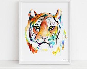 "Tiger Watercolor Digital Download  |  ""Tiger Eye"" by Jess Buhman, Instant Download, Digital File, Nursery Decor"