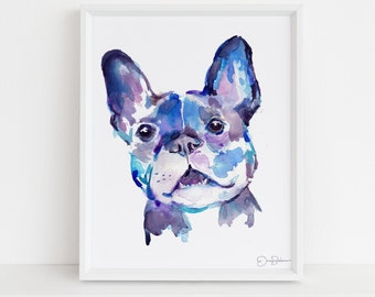 """French Bulldog Watercolor Print Instant Download   """"Frenchie"""" by Jess Buhman, 8"""" x 10"""" Digital File, Print at Home, Dog Lover Gift"""