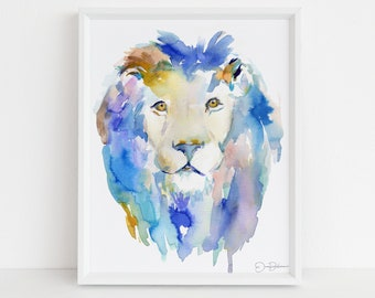 "Lion Watercolor Digital Download Print  | ""In Like a Lion"" by Jess Buhman, Instant Download, Digital File, Nursery Decor"